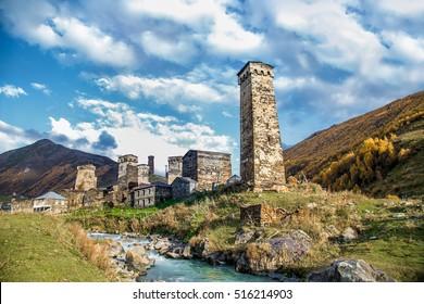 Ushguli village museum in Svaneti.  Upper Svaneti - UNESCO World Heritage Site. Georgia, Europe.