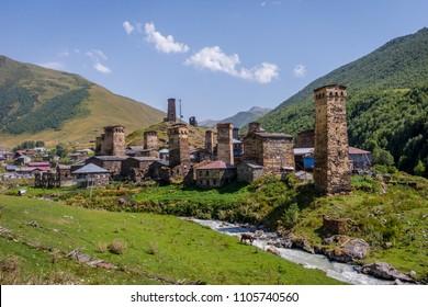 Ushguli village with typical old towers, Unesco heritage, Svaneti, Georgia