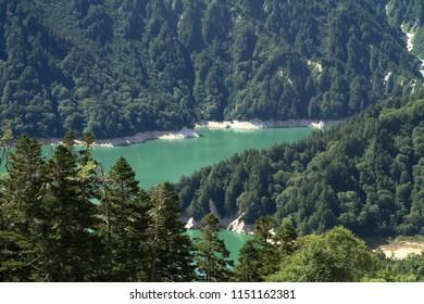 Ushiro-Tateyama mountain range and Kurobe lake in Toyama, Japan