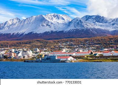 Ushuaia aerial panoramic view. Ushuaia is the capital of Tierra del Fuego province in Argentina.