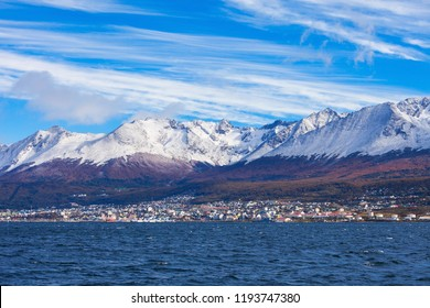 Ushuaia aerial view. Ushuaia is the capital of Tierra del Fuego province in Argentina.