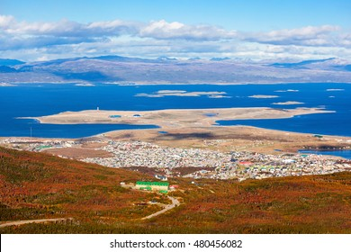 Ushuaia aerial view from the Martial Glacier. Ushuaia is the main city of Tierra del Fuego in Argentina.