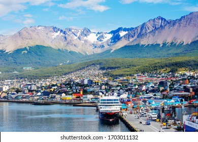 """Ushuaia, Argentina, 02/22/2020, city view from the sea.  Ushuaia is the southernmost city in Argentina (and according to some sources — on the entire planet), it is often called the """"edge of the world"""