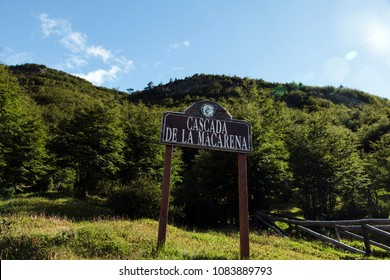 Ushuaia, Argentina - 23 January 2014: Wooden sign in Tierra del Fuego National Park, depicting the location of Casada La Macarena, placed by the route of The End of the World Train next to Ushuaia.