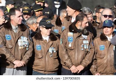 Ushuaia, Argentina - April 2 2019:  War veterans in the military parade for the anniversary of the Falklands War
