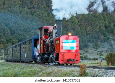 USHUAIA, ARGENTINA - APRIL 8, 2019: The Train of the End of the World. The southernmost railway in the world on the edge of the Earth. Ushuaia National Park. Tierra del Fuego.