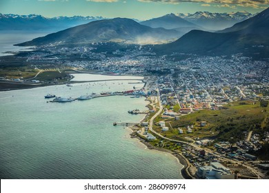 USHUAIA, ARGENTINA - December 28,2014: Aerial view of Ushuaia including a partial view of the Andes on the background