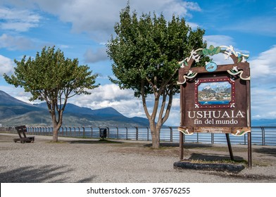 USHUAIA, ARGENTINA - FEB 12 2016: Ushuaia - End of the World Sign Fin del Mundo, documentary editorial.