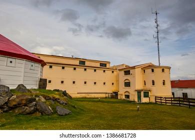 USHUAIA, ARGENTINA - February 2019: Ushuaia Jail Museum (Museo Marítimo y del Presidio de Ushuaia) building, Tierra del Fuego, Argentina