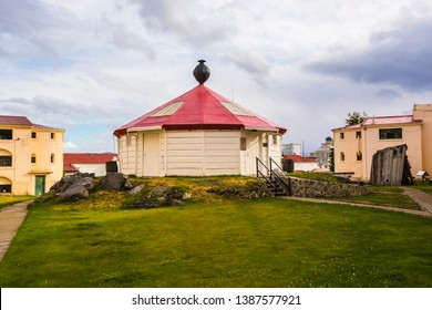 USHUAIA, ARGENTINA - February 2019: Ushuaia Jail Museum (Museo Marítimo y del Presidio de Ushuaia).Old lighthouse on the territory of Jail Museum, Tierra del Fuego, Argentina