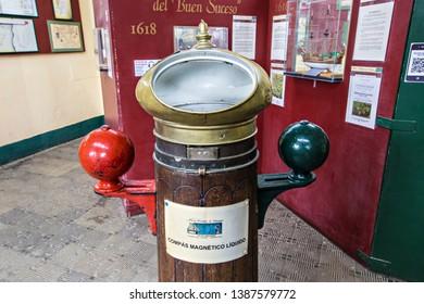 USHUAIA, ARGENTINA - February 2019: Ushuaia Jail Museum (Museo Marítimo y del Presidio de Ushuaia), Old liquid compass in the museum corridor, Tierra del Fuego, Argentina