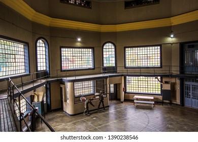 USHUAIA, ARGENTINA - February 2019: Ushuaia Jail Museum (Museo Marítimo y del Presidio de Ushuaia) hall, Tierra del Fuego, Argentina