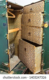 USHUAIA, ARGENTINA - February 2019: Ushuaia Jail Museum (Museo Marítimo y del Presidio de Ushuaia), old vintage suitcase in the museum of Ushuaia, Argentina
