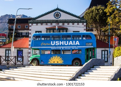 USHUAIA, ARGENTINA - February 2019: Touristic double decker bus in the center of Ushuaia town, Argentina