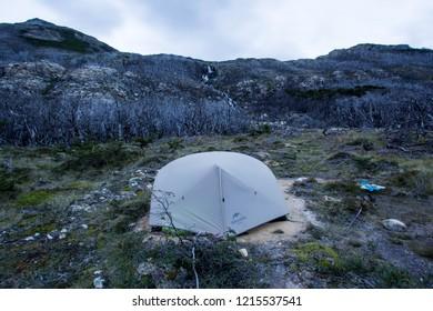 USHUAIA, ARGENTINA -FEBRUARY 5 2018: camping near Salto del Azul waterfall in Valdivieso mountain range, Ushuaia, Tierra del Fuego island, Patagonia Argentina, South America