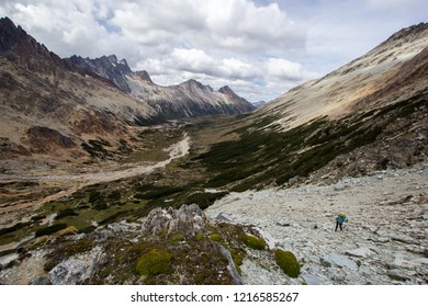 USHUAIA, ARGENTINA - FEBRUARY 5 2018: an unidentified backpacker in a trail of Valdivieso mountain range, Ushuaia, Tierra del Fuego island, Patagonia Argentina, South America