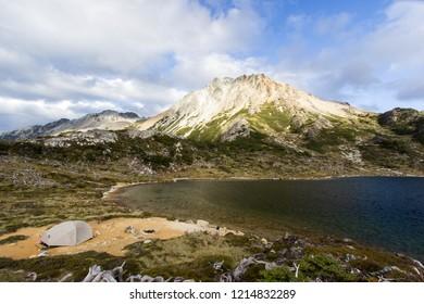 USHUAIA, ARGENTINA - FEBRUARY 7 2018: camping in Valdivieso mountain range, Ushuaia, Tierra del Fuego island, Patagonia Argentina, South America