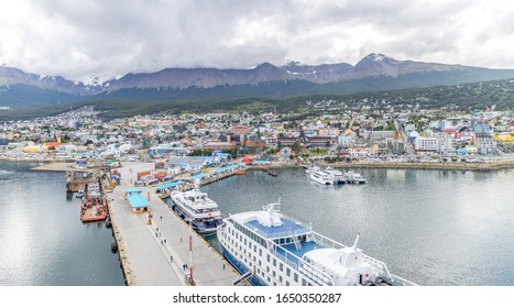 Ushuaia / Argentina- January 23, 2020: The Southern Argentinian port of Ushuaia provides docking for a large number of cruise ships that use it as a base to sail to Antarctica.