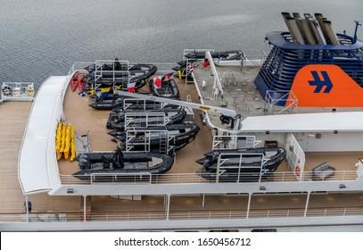 Ushuaia /Argentina- January 23, 2020: An exploration cruise ship loaded with zodiacs and kayaks prepares to sail to Antarctica fron Ushuaia Argentina.
