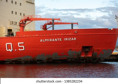 Ushuaia, Argentina - March 27 2019: Hull damaged by ice of a icebreaker of the Argentine Navy in the seaport of the city.