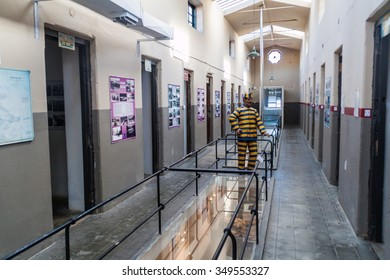 USHUAIA, ARGENTINA - MARCH 6, 2015: Figurine in a cell of a prison, where Museo del Presidio is located, Ushuaia, Argentina