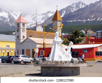 USHUAIA ARGENTINA NOV. 27 11: Seaport Ushuaia is the capital of Tierra del Fuego, Antartida e Islas del Atlantico Sur Province, Argentina. It is commonly regarded as the southernmost city in the world