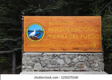 Ushuaia, Argentina – November 02, 2018: Sign at the Entrance of Tierra del Fuego National Park. Ushuaia. Argentina