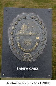 USHUAIA, ARGENTINA - NOVEMBER 17,2014: The coat of arms of the province of Santa Cruz on the area of Ushuaia.