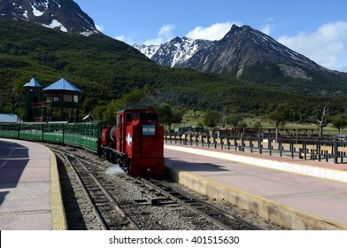 USHUAIA, ARGENTINA - NOVEMBER 17,2014:The southernmost railway in the world on the edge of the Earth. Ushuaia National Park. Tierra del Fuego.