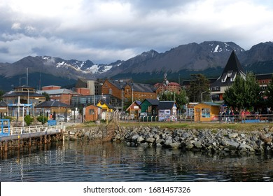 USHUAIA, ARGENTINA-FEBRUARY 26, 2020: View of Ushuaia turistic  port with Martial Mountain in the background