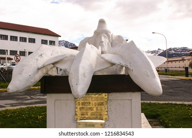 USHUAIA, ARGENTINA-NOV. 10, 2012:  A monument by the city of Ushuaia in recognition of the country's navy in spreading civilization throughout the country. (translation of the plaque provided)