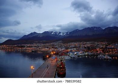Ushuaia. The capital of Tierra del Fuego, Antártida e Islas del Atlántico Sur Province, Argentina in the morning.