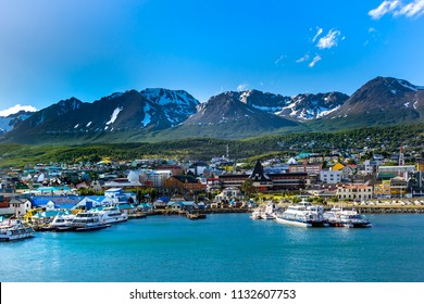 Ushuaia City, Argentina, 5 January 2014, panoramic  view from cruise ship, harbor and snow mountains background