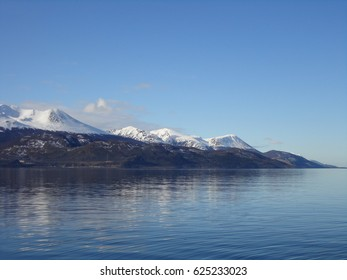 Ushuaia city view from Beagle channel