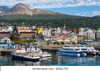 Ushuaia Harbor, Tierra del Fuego. Boats line the harbor in Ushuaia, southernmost city in the world and the leading port for Antarctic exploration.