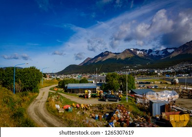 Ushuaia, Tierra del Fuego, Argentina - 03/04/2015: A view from the coast of the downtown at Ushuaia Tierra del Fuego, Argentina
