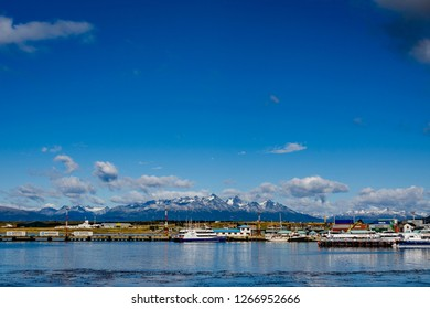 Ushuaia, Tierra del Fuego, Argentina - 03/07/2015: A view from the coast of the downtown at Ushuaia Tierra del Fuego, Argentina