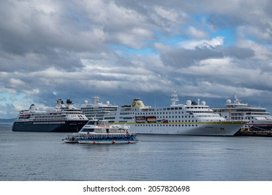 Ushuaia, Tierra del Fuego, Argentina - 19 January 2020. View of the port of Ushuaia, Tierra del Fuego, Patagonia, Argentina