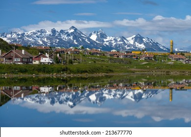 An Ushuaia view with the reflection in the water