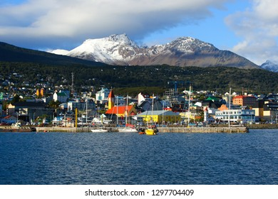 Ushuaia's harbour on a sunny day, seen from the Beagle Channel in the south of Argentina, Tierra del Fuego province
