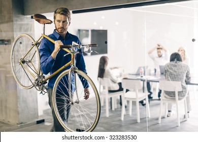 Using bicycle to go to work instead of polluting the environment. Green planet