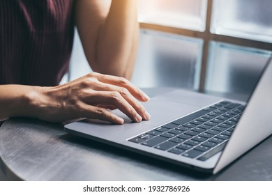 using computer hand typing laptop keyboard contact us.student study learning education online.adult professional people chatting search at office.concept for technology device business