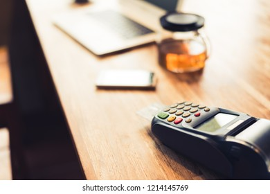 using a credit card machine, concept of payment or shopping