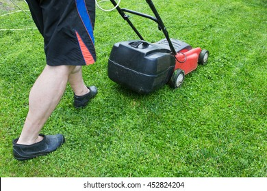using lawnmower