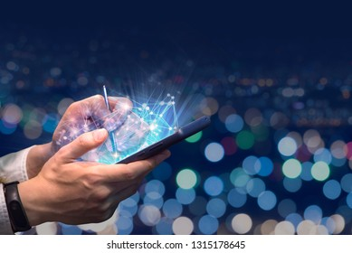 Using a mobile phone to use the Internet.