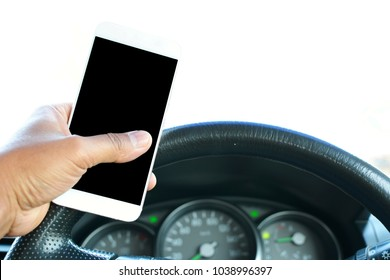 Using of mobile phone while driving. can used for Mobile phones and driving safety concepts.