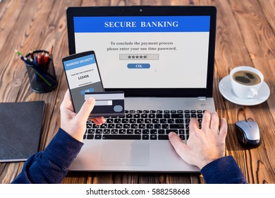 Using One Time Password On Smartphone When Shopping Online, Banking Security Concept