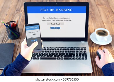 Using One Time Password On Smart Phone When Shopping Online, Banking Security Concept