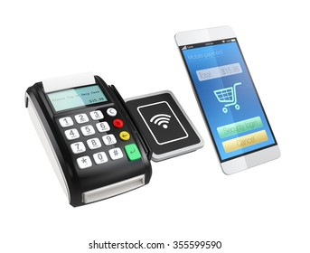 Using smart phone to process payment. Smart cashless mobile payment concept.