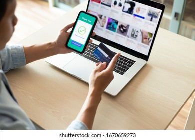 using smartphone and credit card online shopping